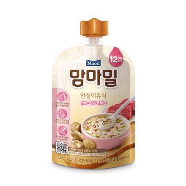 Cháo Organic vị nấm hương và thịt bò 100gr - 12 tháng