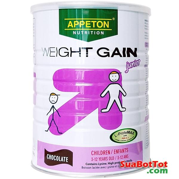 Sữa Appeton Weight Gain Children vị sôcôla 900g (sữa cho trẻ gầy)